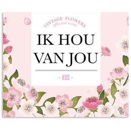 Vintage Flower Cards Ik hou van jou, kus