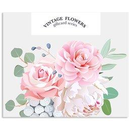 Vintage Flower Cards Blanco
