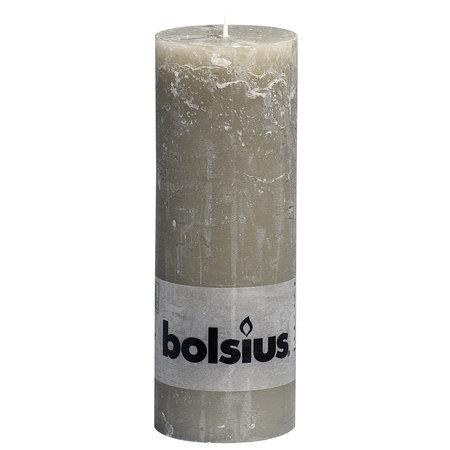 Bolsius Rustik Stumpen Kerzen 190x68 mm Kieselgrau, 6 Stück