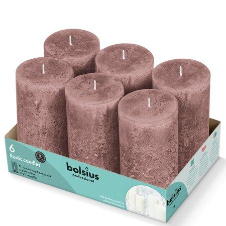 Bolsius Professional Rustik Stumpen Kerzen 130x68 mm Suede Brown, 6 Stück