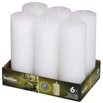 Rustik Stumpen Kerzen 190x68 mm weiß, 6 Stück