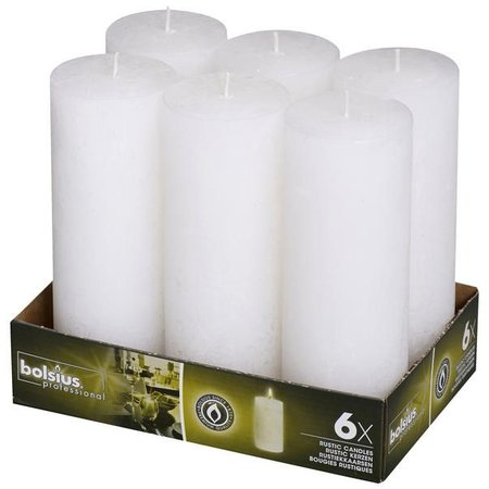 Bolsius Professional Rustik Stumpen Kerzen 190x68 mm weiß, 6 Stück