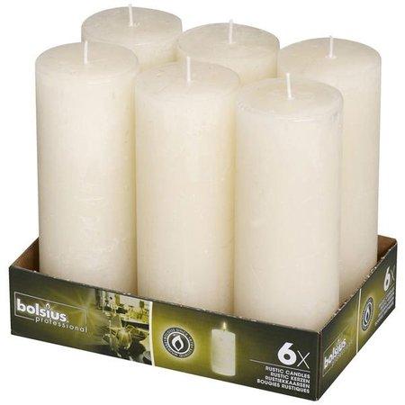 Bolsius Professional Rustik Stumpen Kerzen 190x68 mm Elfenbein, 6 Stück
