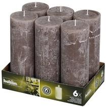 Rustik Stumpen Kerzen 190x68 mm Taupe, 6 Stück