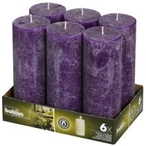 Rustik Stumpen Kerzen 190x68 mm Lila, 6 Stück