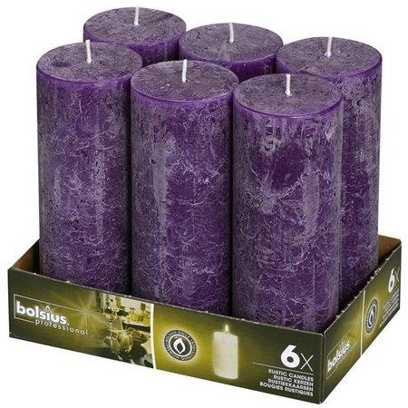 Bolsius Professional Rustik Stumpen Kerzen 190x68 mm Lila, 6 Stück