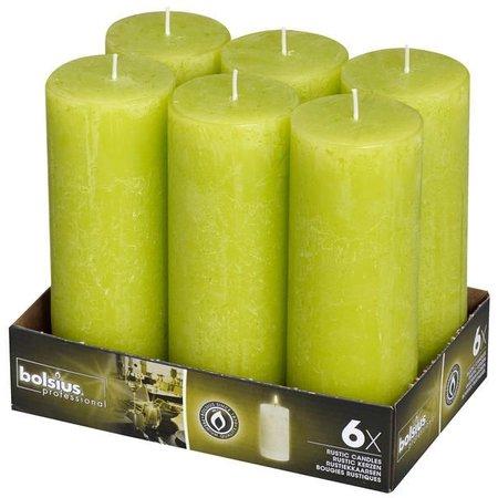 Bolsius Professional Rustik Stumpen Kerzen 190x68 mm Lemon, 6 Stück