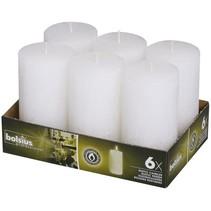 Rustik Stumpen Kerzen 130x68 mm Weiß, 6 Stück