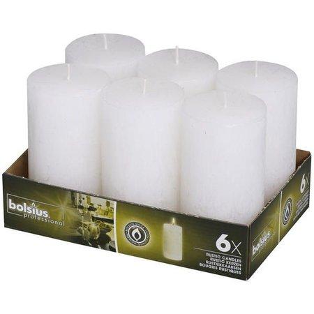 Bolsius Professional Rustik Stumpen Kerzen 130x68 mm Weiß, 6 Stück