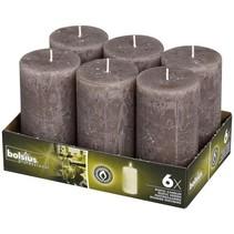 Rustik Stumpen Kerzen 130x68 mm Taupe, 6 Stück