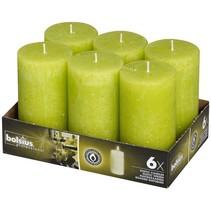 Rustik Stumpen Kerzen 130x68 mm Lemon, 6 Stück