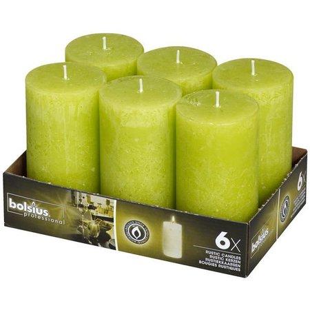 Bolsius Professional Rustik Stumpen Kerzen 130x68 mm Lemon, 6 Stück