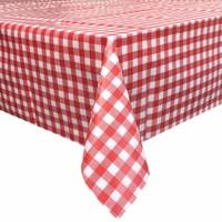 Europees Eco tafelzeil ruitje rood rond 140 cm