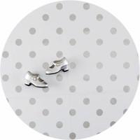 Europees Eco tafelzeil wit met zilveren stip rond 140 cm