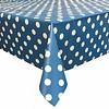 MixMamas Europees Eco tafelzeil blauw-wit grote stip rond 140 cm