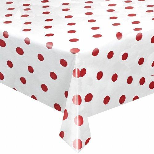 Tafelzeil Eco Wit met rode stippen rond 140 cm