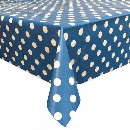 Tafelzeil Eco blauw-wit grote stip 2,5M