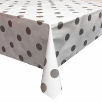 Europees Eco tafelzeil wit met zilveren stip 2,5M