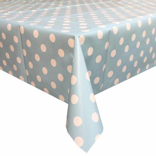 Tafelzeil Eco lichtblauw-wit grote stip 3M