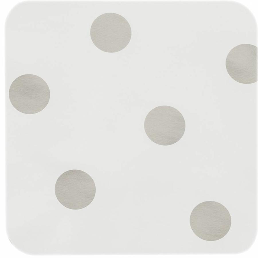 Europees Eco tafelzeil wit met zilveren stip 3M