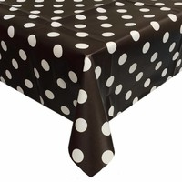 Europees Eco tafelzeil Rol 20m zwartwit grote stip 140 cm