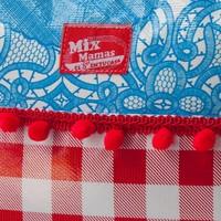 Tasje Petaca Blauw-rood met pompons