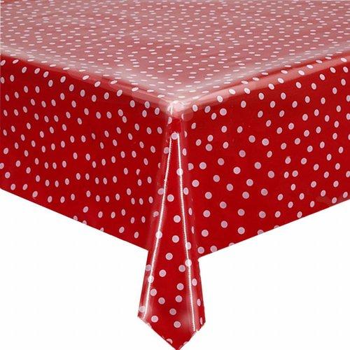 Tafelzeil op rol rood met witte stippen