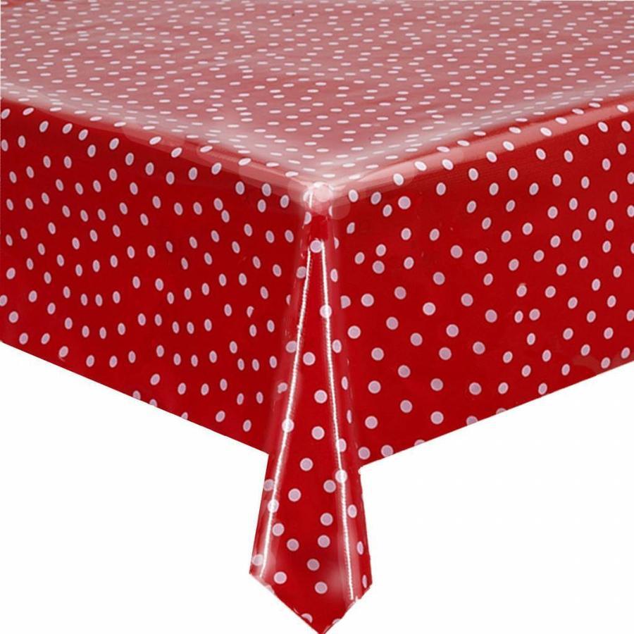 Mexicaans tafelzeil op rol 11m rood met witte stippen