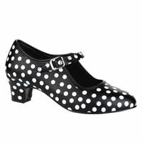Flamencoschoen zwart met witte stippen
