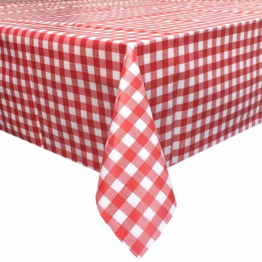 Europees Eco tafelzeil ruitje rood 2,5M