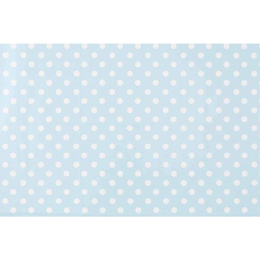 Europees Eco tafelzeil lichtblauw-wit grote stip rond 140 cm