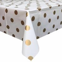 Europees Eco tafelzeil Wit met gouden stippen 2M