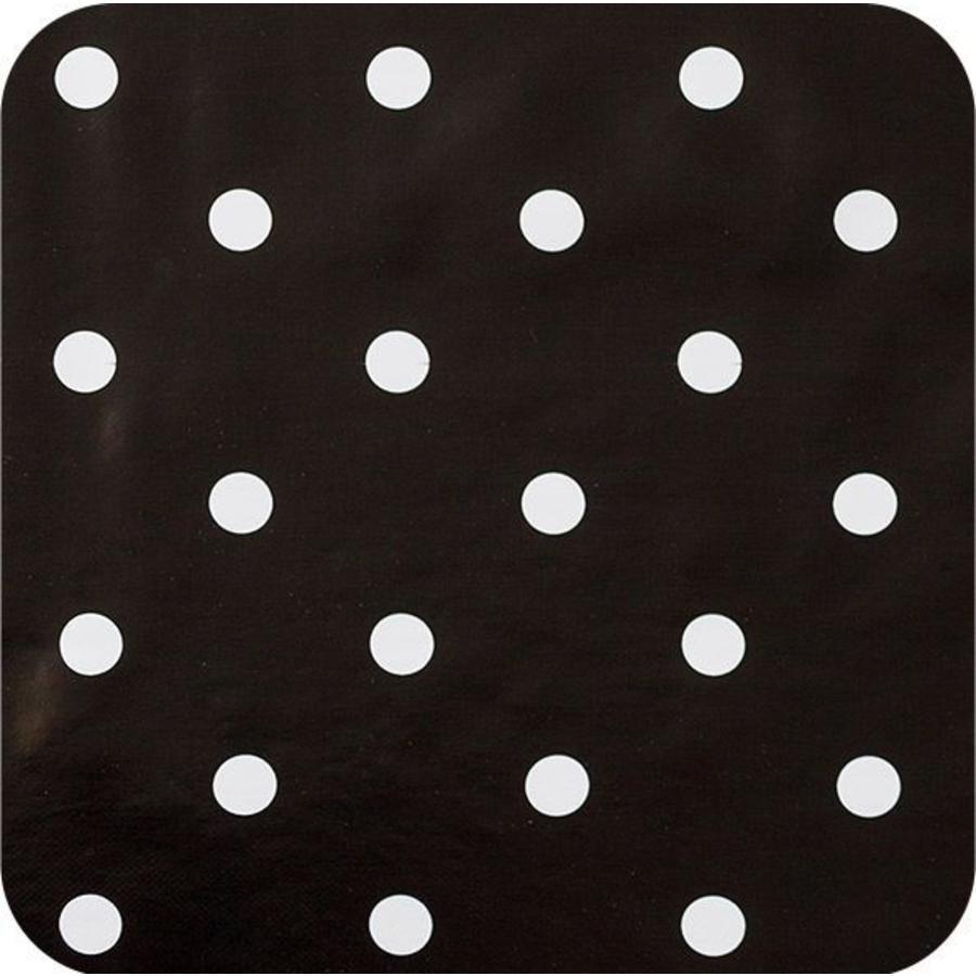 Europees Eco tafelzeil 2mx 1,40m zwartwit grote stip