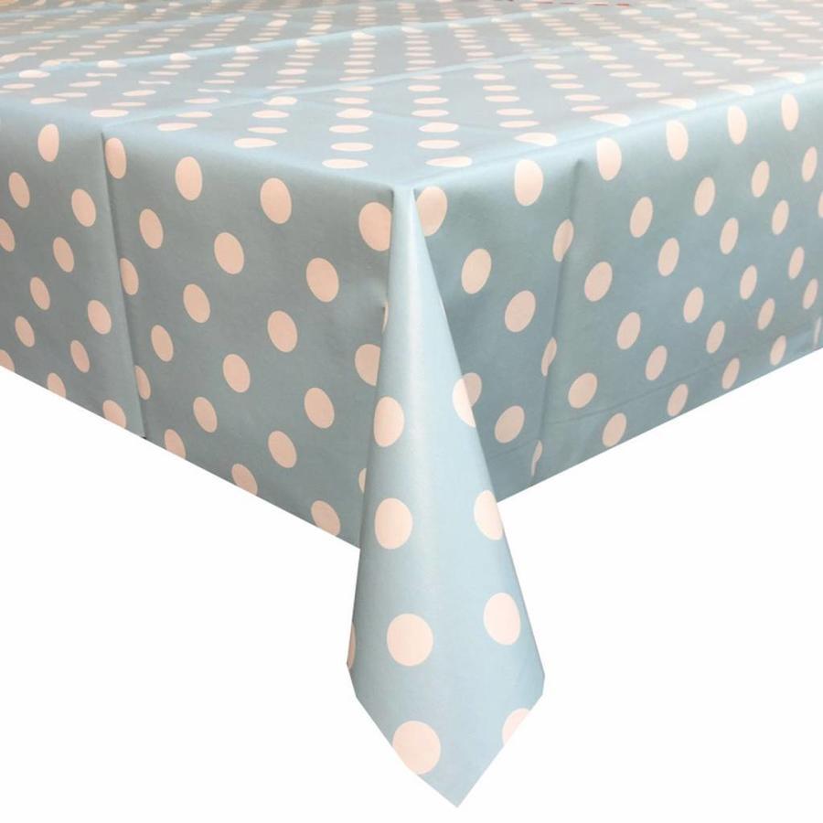 Europees Eco tafelzeil lichtblauw-wit grote stip 3M