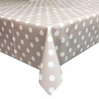 Europees Eco tafelzeil taupe-wit grote stip 3M