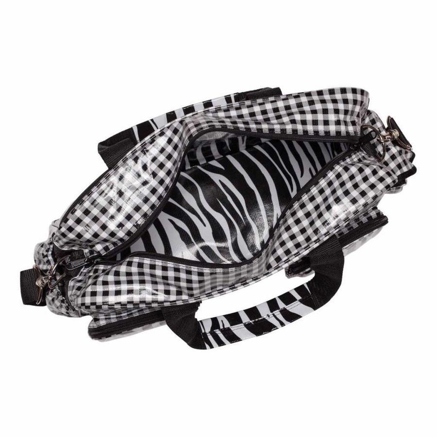 Luiertas met luiermatje Ruitje zwart Zebra met YKK ritsen
