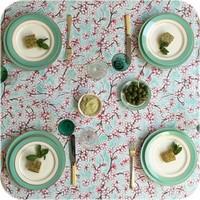 Mexicaans tafelzeil op rol Kersenbloesem mintgroen 11m.