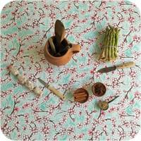 Mexicaans Tafelzeil 3m bij 1,20m Kersenbloesem mintgroen