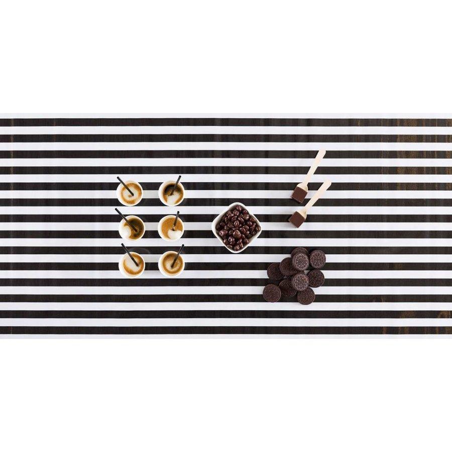 Mexicaans Tafelzeil 2,5m Strepen zwart-wit