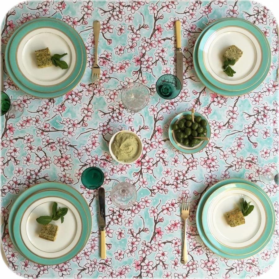Mexicaans tafelzeil 2m bij 1.20m, Kersenbloesem mintgroen