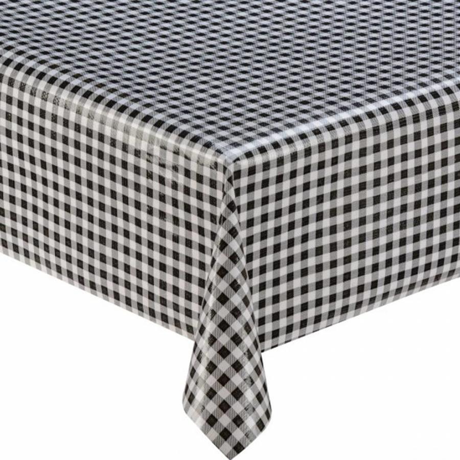 Rond tafelzeil 120cm ruit zwart
