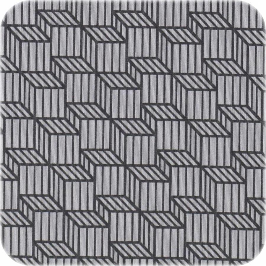 Gecoat tafelkleed Kubussen taupe grijs 2,5m x 1,4m