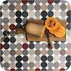 MixMamas Gecoat tafelkleed grote stippen beigegrijs 2,5m x 1,4m