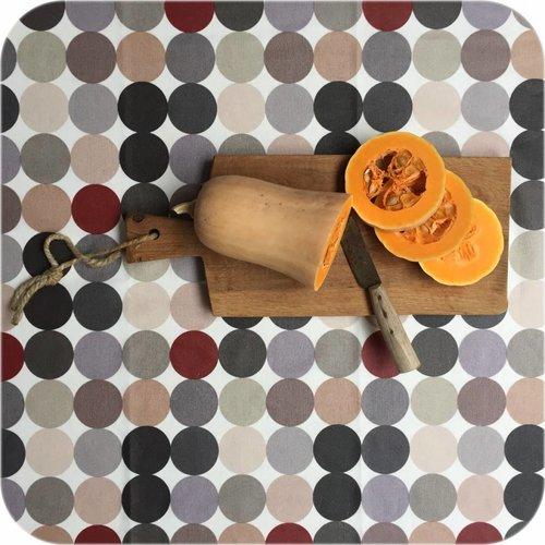 Gecoat tafelkleed 140 x 250 cm grote stippen beigegrijs