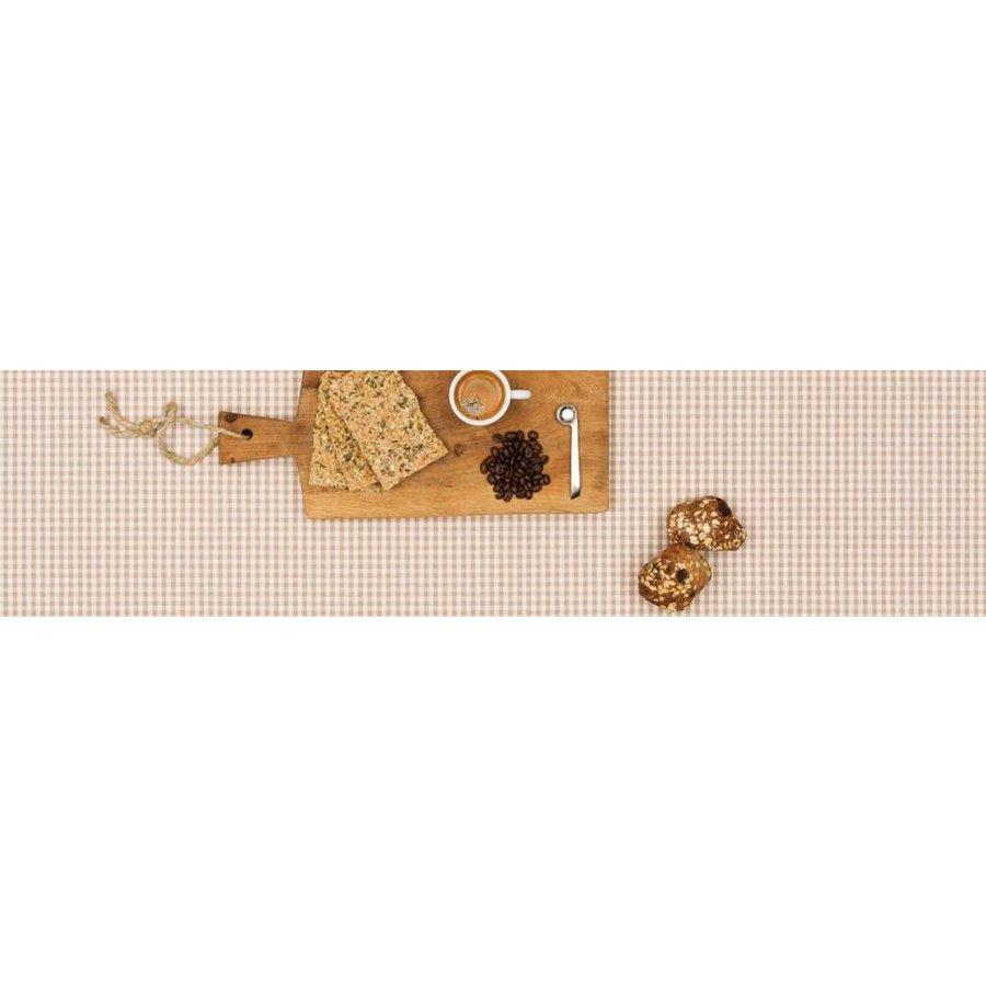 Gecoat tafelkleed Ruitje beige 2mx 140cm