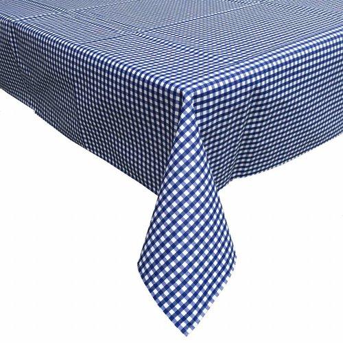 Gecoat tafelkleed 140 x 200 cm Ruitje donkerblauw