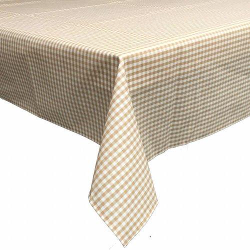 Gecoat tafelkleed 160 x 200 cm Ruitje beige