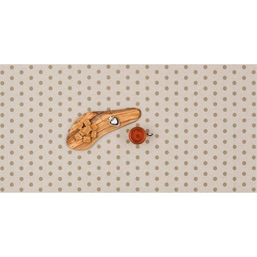 Gecoat tafelkleed 2m beige met taupe stippen 1,6m breed