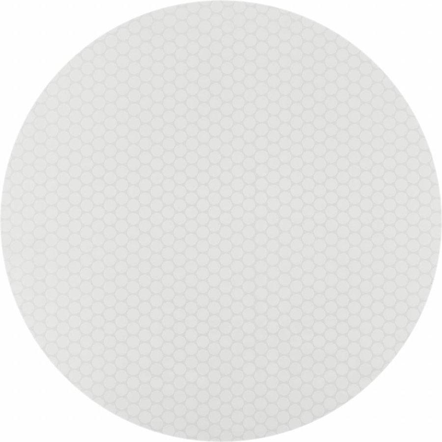 Gecoat rond tafelkleed met bies witte stippen 140cm