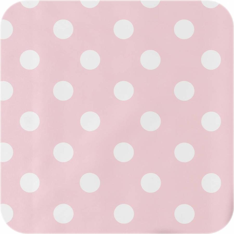 Europees Eco tafelzeil roze-wit grote stip 2,5M